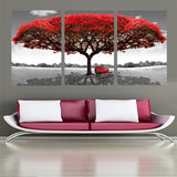 3 Pc Red Tree Landscape Modern Canvas Wall Art HD Print