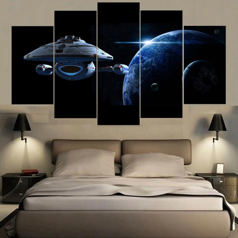 Home Decor Canvas Painting Abstract 5 Panel Planet Landscape Wall Decorative Paintings Modern Pictures Spaceship Wall Art Frame