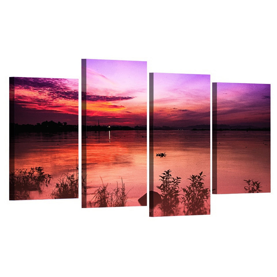 4 Panel Pink Evening Sky Modern Decor Canvas Wall Art HD Print