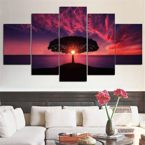 5 Panel Tree Red Sunset By Sea Modern Decor Canvas Wall Art HD Print