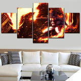 Canvas Printed Painting Living Room Decor 5 Pieces Anime One Piece Cloud Fire Pictures Wall Art Characters Poster Modular Framed