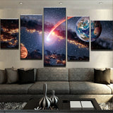 5 Panel Planets Universe Modern Decor Canvas Wall Art HD Print