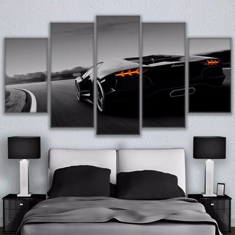 5 Panel Black Lamborghini Luxury Sports Modern Décor Wall Art Canvas HD Print