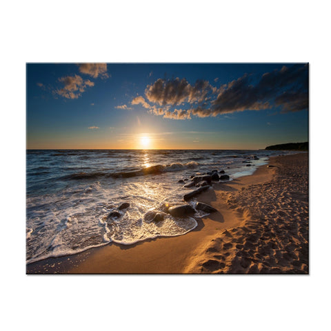 Canvas HD Prints Paintings Home Decor Framework 1 Piece/Pcs Ocean Water Beach Sunset Posters Bedroom Wall Art Sea Waves Pictures