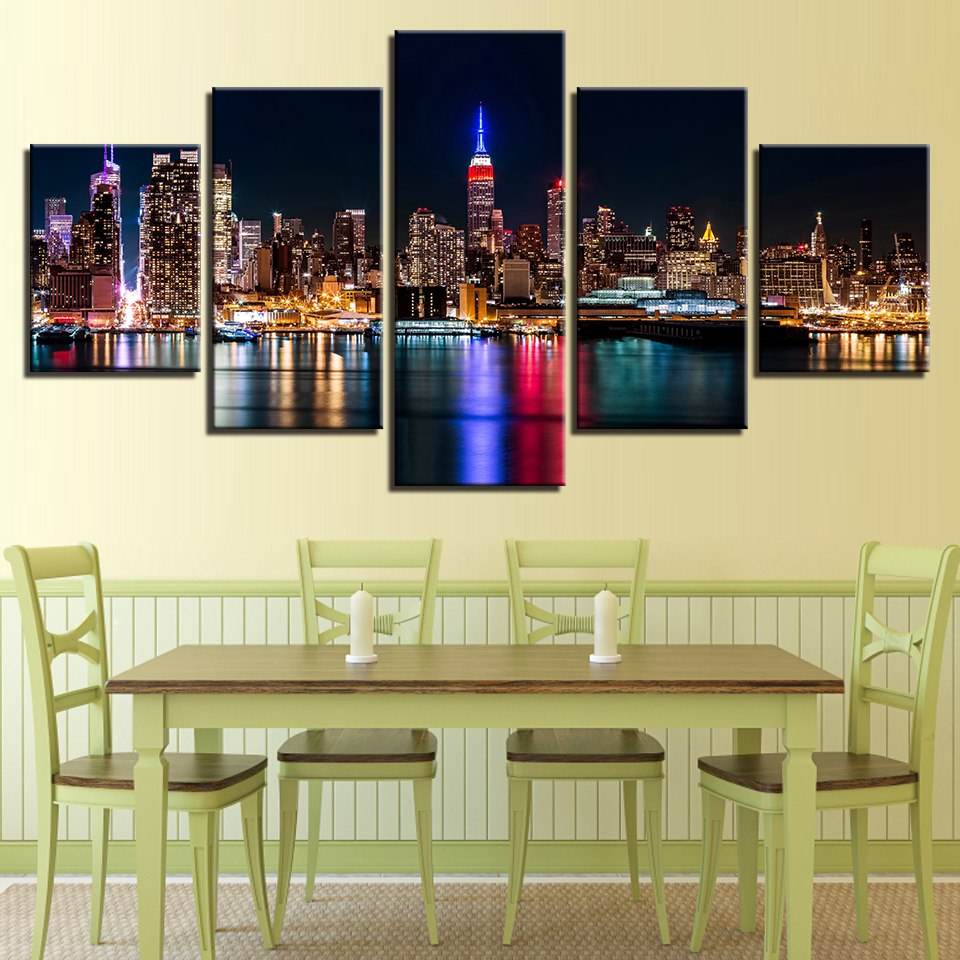 5 Panel New York City Nightscape Modern Décor Canvas Wall Art HD Print.