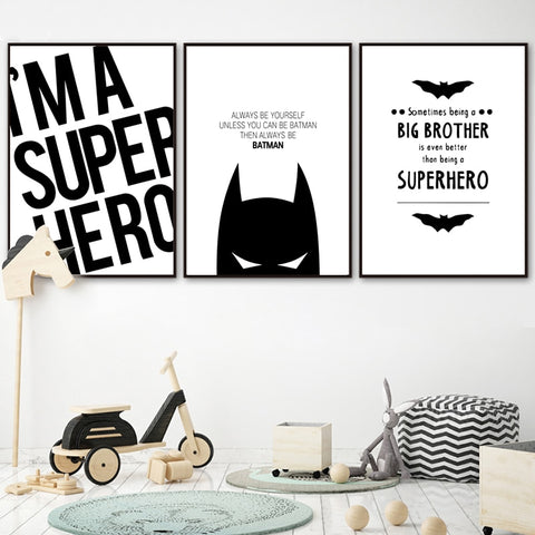 Nordic Style Super Hero Batman Modern Decor Canvas Wall Art HD Print