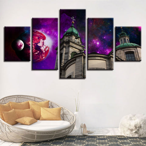5 Panel byzantine Church Against Purple Sky Modern Décor Wall Art Canvas HD Print