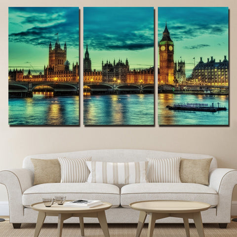 3 Piece London Bridge Modern Decor Canvas Wall Art HD Print