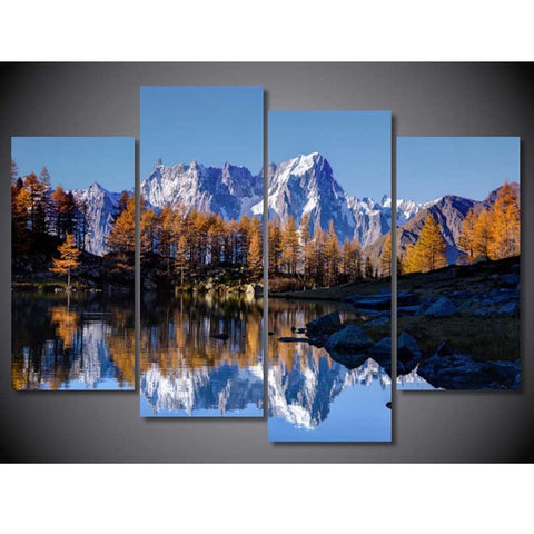 4 Panel Mont Blanc Autumn Landscape Modern Decor Canvas Wall Art HD Print