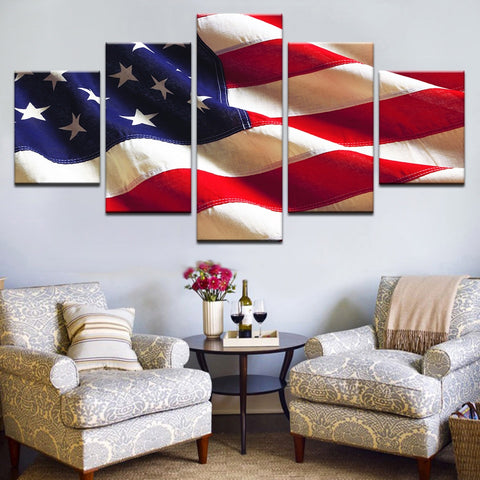 5 Panel Framed Vintage American Flag Modern Décor Canvas Wall Art HD Print