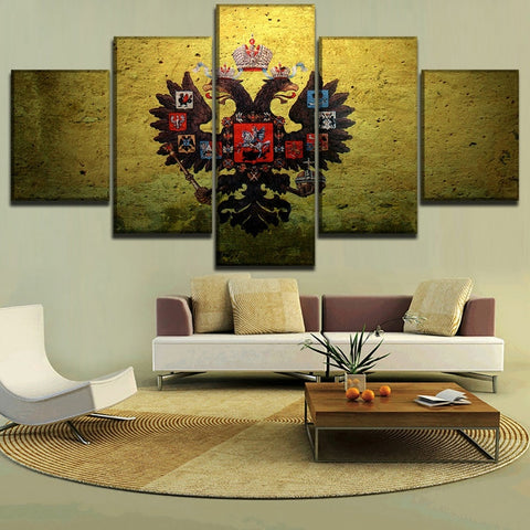 5 Panel Framed Russian Coat of Arms Modern Décor Canvas Wall Art HD Print