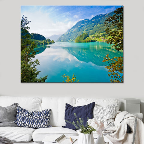 1 Piece Beautiful Green Lake Modern Canvas Wall Art HD Print