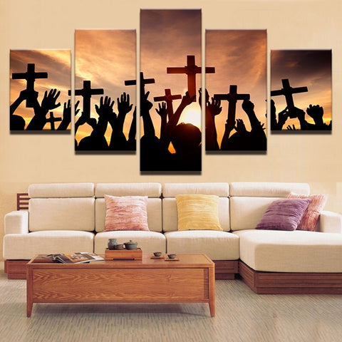 5 Panel Jesus Landscape For Living Room Modern Decor Canvas Wall Art HD Print