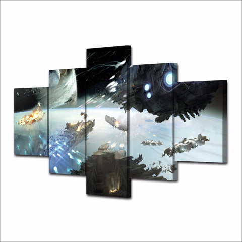 5 Panel Spaceship & Planets Battle Scene Modern Décor Wall Art Canvas HD Print