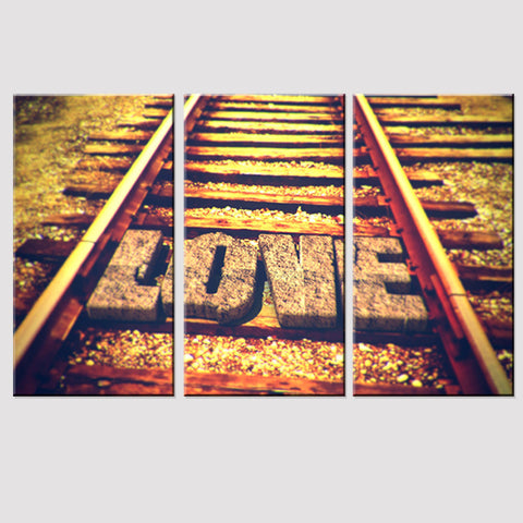3 Piece Railway Line Modern Canvas Wall Art HD Print