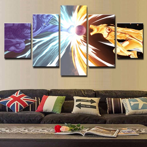 Modular Canvas Wall Art Pictures 5 Pieces Naruto VS Sasuke Paintings Cartoon Anime Naruto Poster Home Decor Living Room Framed