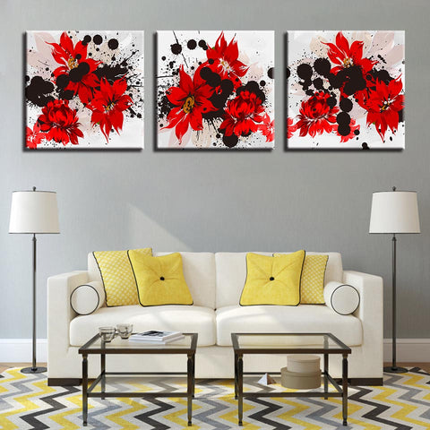 3 Piece Red Hibiscus Modern Canvas Wall Art HD Print