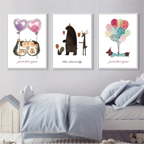 Nordic Style Watercolor Animals Kids Room Canvas Wall