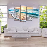 Modern HD Printed Canvas Pictures Room Home Decor 5 Pieces Sunset Beach Sea Wave Painting Wall Art Seascape Poster Frame PENGDA