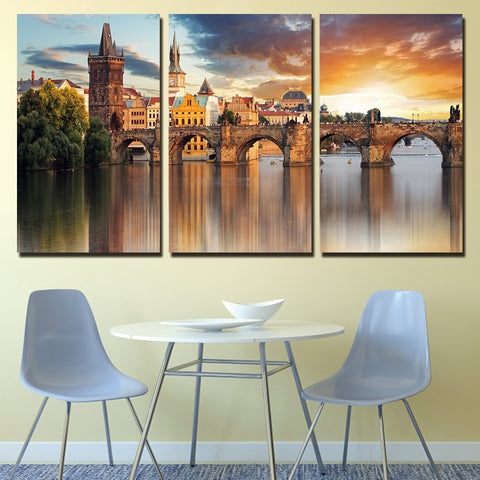 3 Panel Prague Vltava River Stone Bridge Modern Decor Canvas Wall Art HD Print