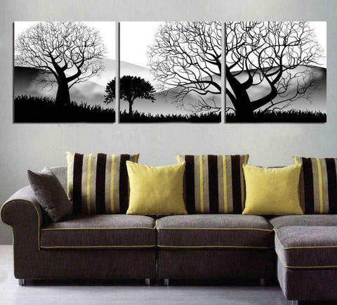 3 Panel Black And White-Trees Modern Decor Canvas Wall Art HD Print