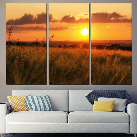 3 Panel Sunset On Grass Field Modern Decor Canvas Wall Art HD Print