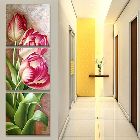 3 Pc Pink Flower Modern Decor Canvas Wall Art HD Print