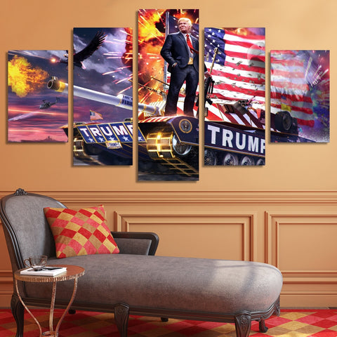 5 Panel Patriotic Trump on a Tank Modern Décor Wall Art Canvas HD Print