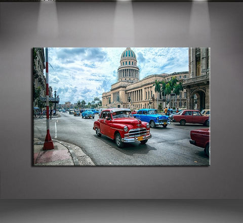Havana Cuba Car City Modern Decor Canvas Wall Art HD Print