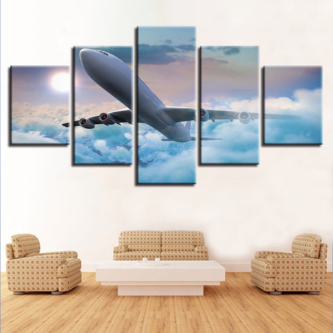 5 Panel Plane Through the Clouds Modern Décor Wall Art Canvas HD Print