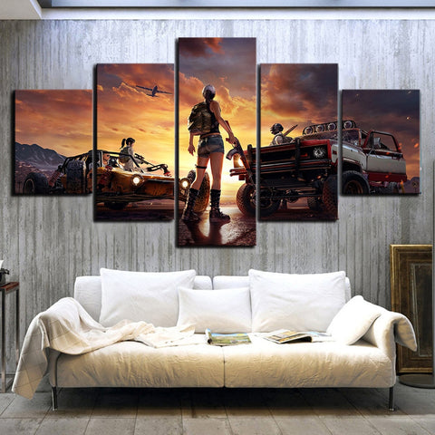 5 Panel PUBG Game Landscape Modern Décor Wall Art Canvas HD Print