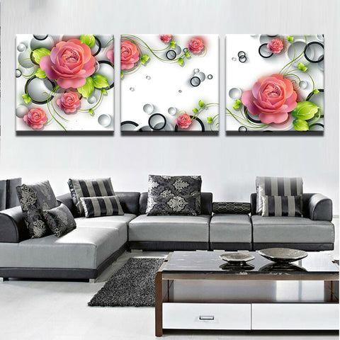 3 Panel Framed Beautiful Pink Roses Modern Decor Canvas Wall Art HD Print