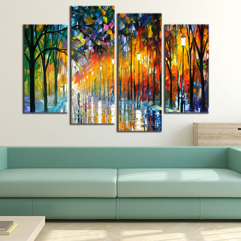 4 Panel Beautiful Tree Lined Street Modern Decor Canvas Wall Art HD Print