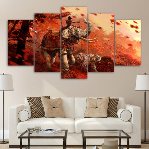5 Pieces Far Cry 4 Shangri-La Elephant & Tiger Modern Décor Canvas Wall Art HD Print.