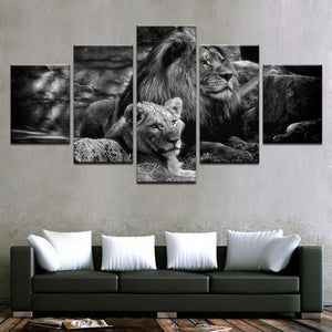 Modular Canvas Wall Art Printed Poster Home Decor Frame 5 Pieces Black White Animal Pictures King Of The Forest Lions Painting