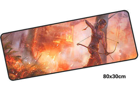 Tomb Raider Lara's on Fire Large Mouse Pad 800x300mm Best PC Gaming Pad HD Print