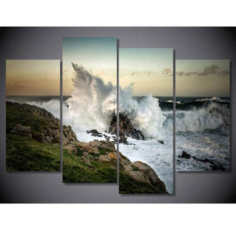 4 Panel Wave Crashing On Rocks Modern Decor Canvas Wall Art HD Print