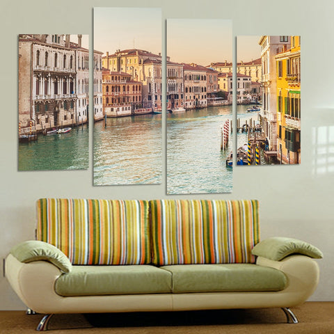 4 Panel Venice Street Modern Decor Canvas Wall Art HD Print