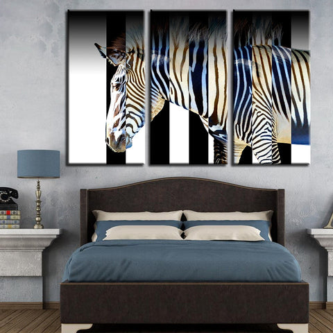 Canvas Pictures Modular Home Decoration 3 Pieces Abstract Zebra Animal Paintings Printed Poster Artwork Living Room Wall Framed