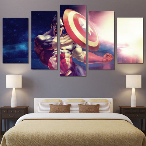 5 Panel Captain America Character Modern Decor Canvas Wall Art HD Print