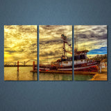 Canvas Wall Art Prints Paintings Home Decor Posters 3 Pieces Fishing Boat Bridge Sunset Seascape Pictures Living Room Framework