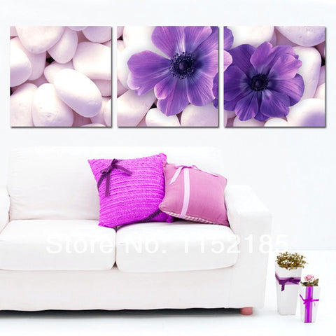 3 Pc Beautiful Flower Modern Canvas Wall Art HD Print