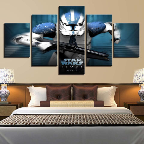 5 Panel Star Wars Running Clone Trooper Modern Decor Canvas Wall Art HD Print