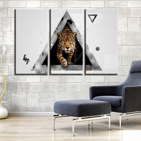 Canvas Pictures Home Decor 3 Pieces Triangles And Leopard Painting Living Room Printed Animal Poster Modular Wall Art Framework