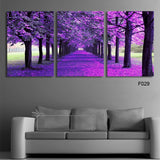 3 Panel Purple Forest Trees Modern Decor Canvas Wall Art HD Print