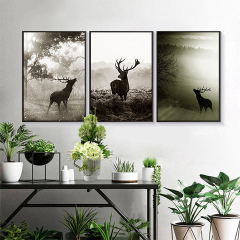 Nordic Style Animals Deer Forest Scenery Modern Decor Canvas Wall Art HD Print
