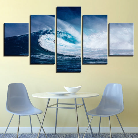 5 Panel Blue Sea Waves Surfing Modern Décor Canvas Wall Art HD Print.