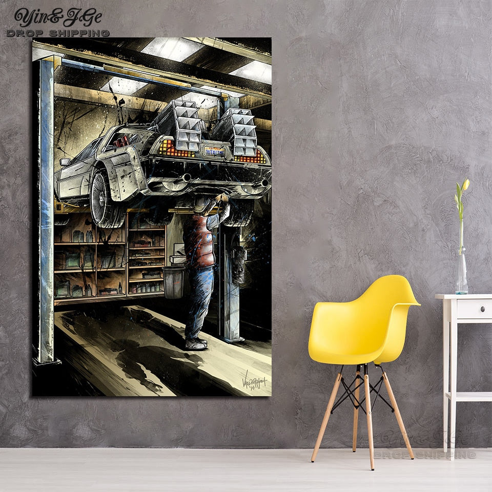 Back To The Future DeLorean Abstract Modern Canvas Wall Art HD Print