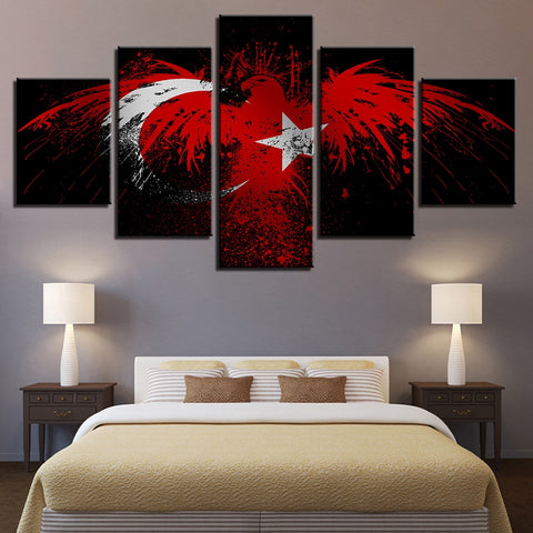 5 Panel Framed Eagle Flag of Turkey Modern Décor Canvas Wall Art HD Print