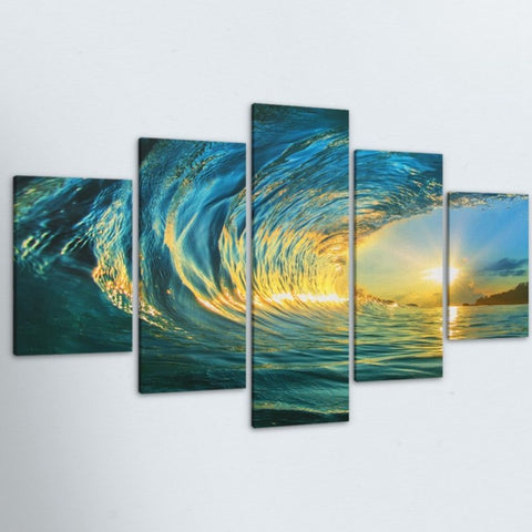 5 Panel Blue Waves Seascape Modern HD Print